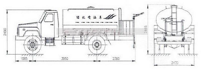 东风尖头140洒水车结构示意图展示